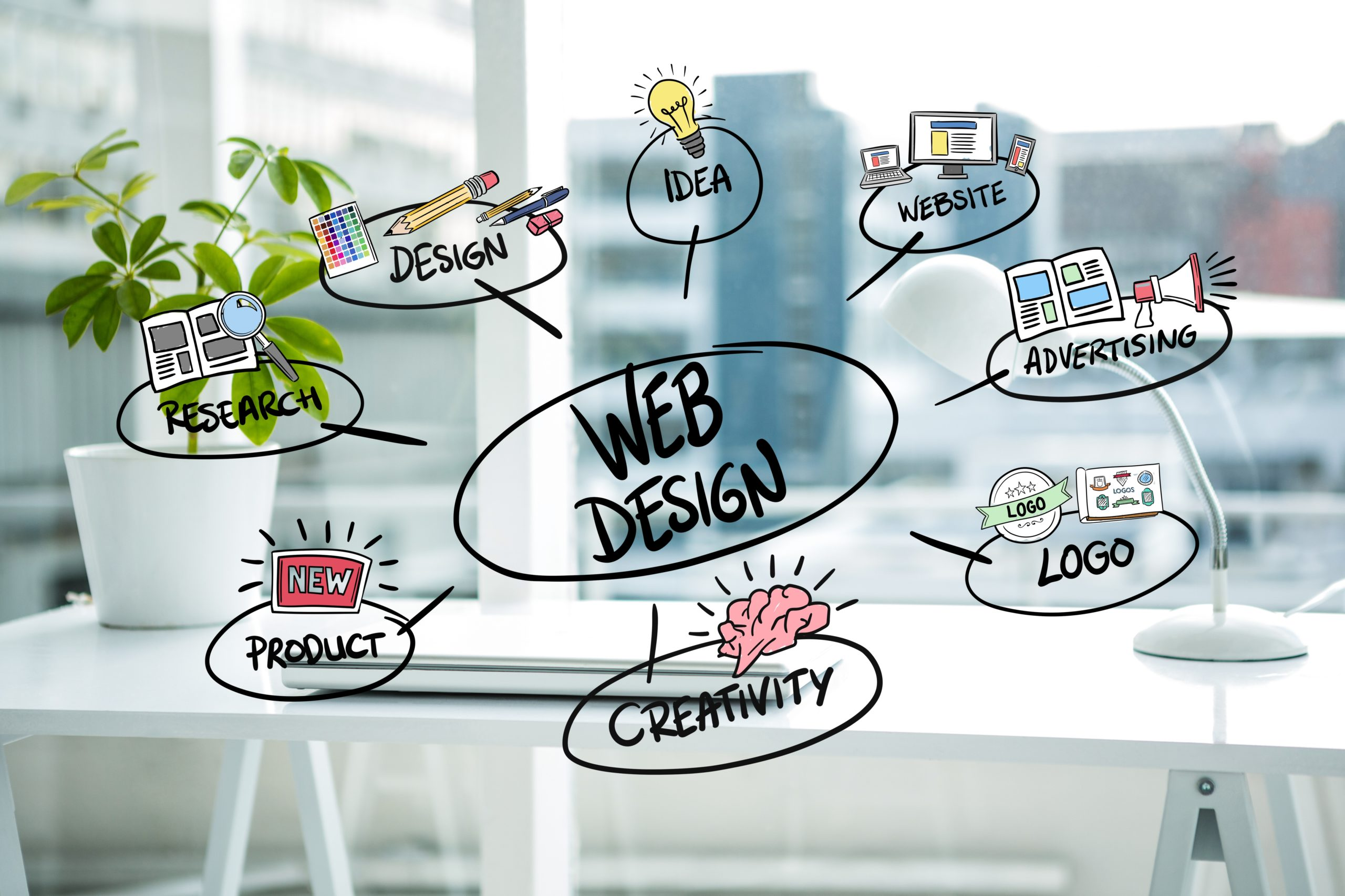 digital composite of business graphics with office background